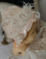 Antique Edwardian Baby Bonnet Pink Silk Shirred Ribbon Ostrich Feathers
