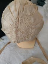 1920s Silk Baby Children Bonnet Ruching Shirring Ribbonwork  Sweet Old Fashion