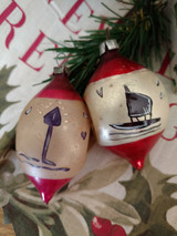 2 Vintage Christmas Tree Ornaments Mercury Glass Indent Asian Influence