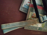 Antique Victorian Children School  Book Carrier Handle Woven Straps 1880