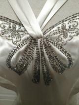 1930s Wedding  Formal Evening Party Long Satin Dress Beads Rhinestone Bow Bodice