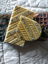 Vintage Art Deco Carved Buckle Rhinestones Accent 1930s Early Plastic
