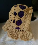 Victorian Doll Wool Winter Bonnet Hand Crochet Purple Lining