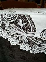Antique Battenburg Tape Lace Round Tablecloth Cloth Center Victorian Edwardian