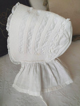 Primitive Child Sunbonnet White Dimity Cotton Corded  1850 1880