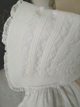 Primitive Child Sunbonnet White Dimity Cotton Corded  1850 1880