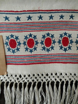 Victorian Patriotic Fringe Damask Towel Red White Blue Written Note Unused