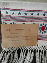 Victorian Patriotic Fringe Damask Towel Red White Blue Written Note Unused