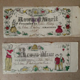 2 Reward Of Merit Civil War 1860 Hand Color Signed Dated