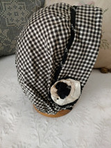 1920s Girl Bonnet Hat Home Sewn Black White Check Ribbon Rosettes