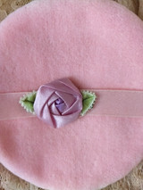 Vintage 1920s Mohair Powder Puff Pink Rosette Ribbon Work Unused