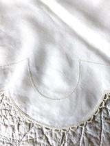Victorian Edwardian Sham Bolster Pillow Top Monogram RM Drawn Thread