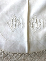 Victorian Edwardian Sham Bolster Pillow Top Monogram RM Drawn Thread