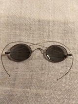 Early 1900s Eye Sun Glasses Spectacles Oval Blue Gray Lens