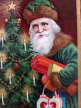 Antique Postcard Santa Father Christmas Green Suit Packages Candy Box