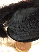Antique Women Hat  Taffeta Lace Feathers Narrow Brim 1915 1920s