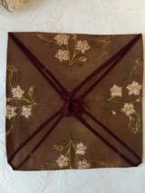 Society Silk Embroidery Napkin Holder  Linen Ribbon 1880s  Victorian