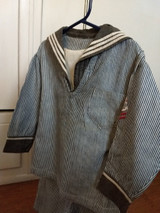 Boy Sailor Suit Victorian Edwardian Blue White Stripe With Stockings