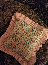 Vintage 1930s Pincushion Rosebud Fabric Print Brass Hanging Rings