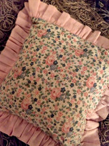 Vintage 1930s Pincushion Rosebud Fabric Print Brass Hanging Rings