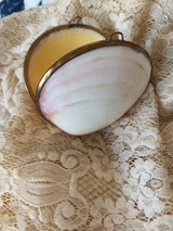 Victorian Shell Etui Thimble Trinket Case Brass Fittings Seashell Keepsake