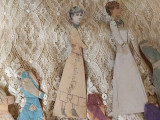 Victorian Two Paper Dolls 7 Crepe Paper Tissue Dresses Hand Made Doll Fashions