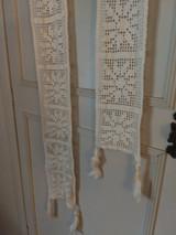 Early 1900 Portiere Door  Window Crochet Fringe Window Treatment