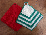 Two Crochet Hot Pad Trivet Mat Holders Vintage 1930 1950 Unused