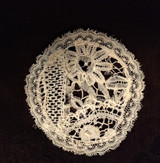 Antique Normandy Lace Mixed Lace Motif Doily French Applique Round