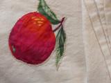 Feed Sack Muslin Applique Kitchen Towels Vintage Home Sewn Fruit Motif Set 4