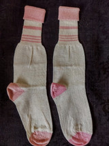 Edwardian 1920 Child Stockings Pink Cream Cuff Unworn Socks Hosiery