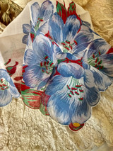 Vintage Switzerland Floral Handkerchief Morning Glory Hankie
