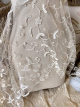 Antique Hand Tape Lace Veil Wedding Hat Bonnet White Embroidery Victorian