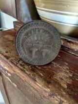 Antique Butter Mold Print Stamp Wooden Acorn Leaf Design