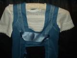 Antique Child Blouse Over Tunic Ribbon Trim White Cotton Tucks Lace