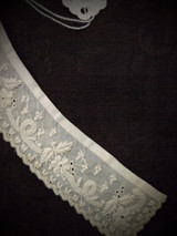 Antique 1850 Whitework Embroidery Collar Tiny Flowers Leaves Hand Made