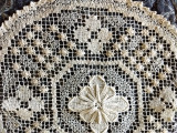 Hand Knotted Table Doily Darn Net Filet Lacis 1920s Vintage