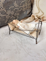 Edwardian 1920 Twisted Wire Baby Bed Celluloid Doll Pillow Mattress Dollhouse