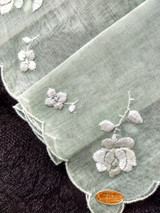 Mint Green Handkerchief Vintage Hanky Swiss Label Rose Flowers