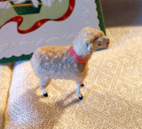 Vintage 1930 Putz Woolly Sheep Stick Leg  Pink Collar Christmas Holiday