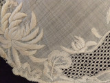Victorian Drawn Pulled Thread Doily Padded Embroidery White Linen