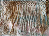 Edwardian 1920s Rayon Evening Shawl Stole Wrap Hand Tied Fringe Muted Colors