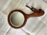 Victorian Wooden Hand Mirror Antique Dresser Vanity Round Bevel Glass