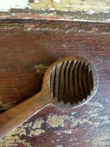 Antique Wooden Butter Scoop Spoon Mold One Piece Shaped Handle