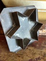 Antique Tin Cookie Cutter Star Flat Back Strap Handle Farmhouse Primitive