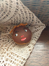 Antique Silk Mammy Face Sewing Emery Pin Cushion