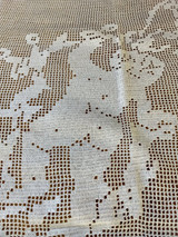 Vintage Hand Made Crochet Filet Cherubs Unused Tablecloth Bed Cover Door Shade