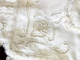 11  Vintage Napkins Point Venice Lace Inset Linen Fabric Darn Net Lace Edging