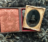 Antique Civil War Girl Ambrotype Glass Photo Etched Frame In Case