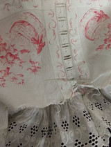 Victorian Handkerchief  Floral Print Pillow Cover Antique  White Eyelet Ruffle